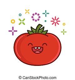 トマト, イラスト, kawaii, 微笑, 漫画