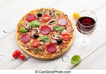 トマト, オリーブ, pepperoni, ピザ, バジル, ワイン, 赤, イタリア語