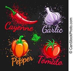 トマト, コショウ, セット, さくらんぼ, 野菜, ニンニク, 新たに, チリ