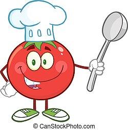 トマト, シェフ, スプーン, 赤, 保有物
