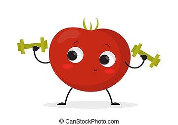 トマト, スポーツ, 特徴, 微笑, dumbbell, 練習