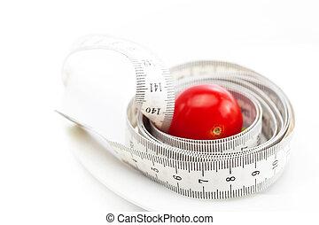 トマト, プレート, 隔離された, 巻き尺, 白