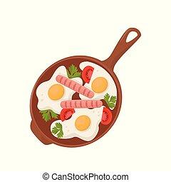 トマト, 卵, パセリ, イラスト, ベクトル, ソーセージ, 背景, 揚がること, 白, 揚げられている, 葉, パン