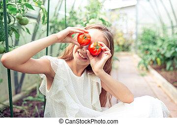 トマト, 大きい, 温室, 手, 肖像画, 子供