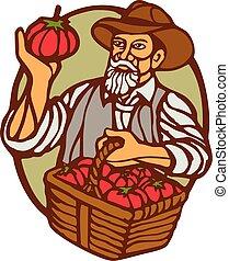 トマト, 有機体である, 木版, linocut, 農夫, バスケット