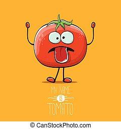 トマト, 面白い, オレンジ, 名前, かわいい, 特徴, 隔離された, バックグラウンド。, ファンキーである, ベクトル, 夏の野菜, tomato., 私, 漫画, 赤