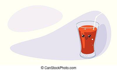 トマト, 面白い, ジュース, 特徴, kawaii, ガラス水平線, 顔, 微笑, 漫画