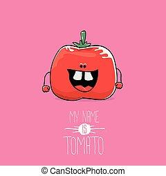 トマト, 面白い, ベクトル, 名前, かわいい, 食物, 特徴, 隔離された, バックグラウンド。, ファンキーである, ピンク, 野菜, 微笑, tomato., 私, 漫画, 赤