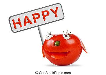 トマト, 面白い, 微笑
