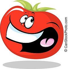 トマト, 面白い, 微笑, 野菜, isol