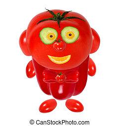 トマト, 面白い, 顔つき, 微笑