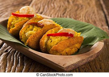 トマト, sauteed, 作られた, サラダの食物, -, エンドウ豆, vatapa, caruru, 伝統的である, shrimp., フリッター, 黒い目をしている, acaraje, ブラジル人, bahia., 満たされた, 典型的