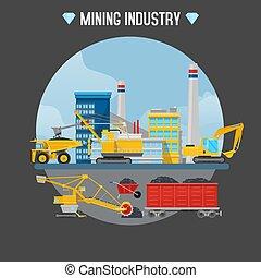 トラクター, 鉱山, illustration., 掘削機, 機械, 産業, 水力である, サイト。, ベクトル, 山, ボーリングする, 建設, ローダー
