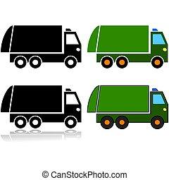 トラック, ごみ, セット, アイコン