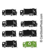 トラック, ごみ, icons.