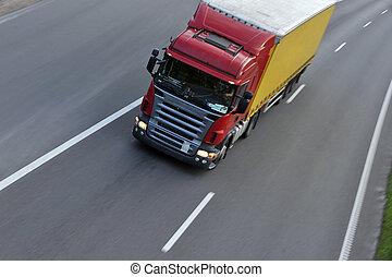 トラック, ∥で∥, 貨物, 引っ越し, 速い