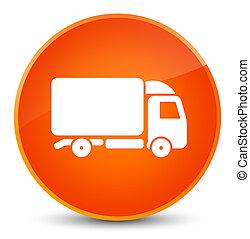 トラック, アイコン, 優雅である, オレンジ, ラウンド, ボタン