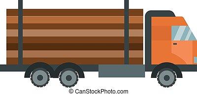 トラック, イラスト, 木, 隔離された, 材木