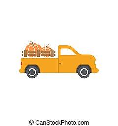 トラック, カボチャ, テンプレート, イラスト, デザイン, ベクトル, 隔離された
