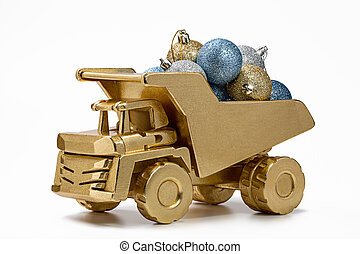 トラック, クリスマス, ゴミ捨て場, decorations.