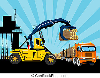 トラック, クレーン, フォークリフト, 引き上げ装置, 伐採