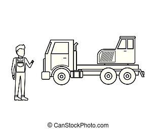 トラック, クレーン, 労働者, 人