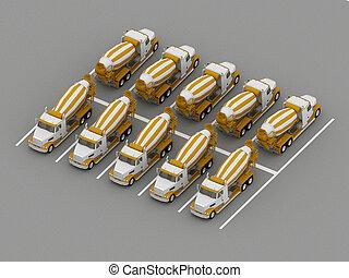 トラック, コンクリート, ミキサー, 駐車