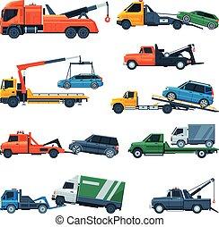 トラック, サービス, 援助, ベクトル, イラスト, 退去, 輸送, 平ら, 道, 車, セット, 自動車, 牽引