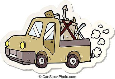 トラック, ステッカー, 古い, 漫画