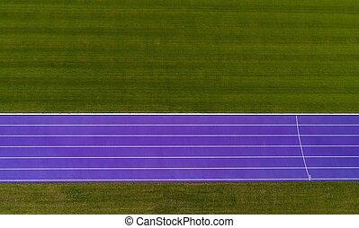 トラック, スポーツ, 空中写真
