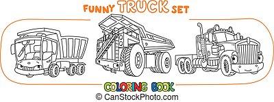 トラック, セット, 重い, 自動車, 本, 着色, 目, 面白い