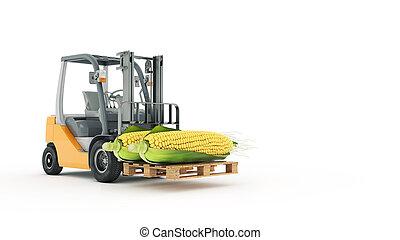 トラック, トウモロコシ, フォークリフト, 現代