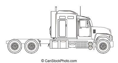 トラック, トラクター, ユニット, アウトライン