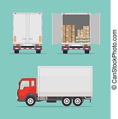 トラック, ビュー。, 側, バックグラウンド。, 青, 出産, 隔離された, 背中