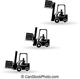 トラック, フォークリフト, シルエット