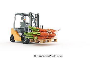 トラック, フォークリフト, ニンジン, 現代