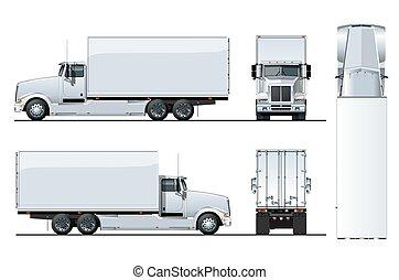 トラック, ベクトル, 白, 隔離された, テンプレート