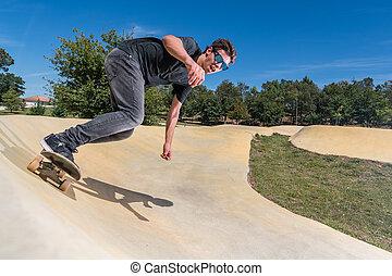 トラック, ポンプ, skateboarder, 公園