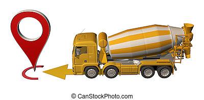 トラック, ミキサー, ピン, 行く, 地図, コンクリート