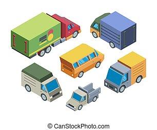 トラック, モデル, 3d, イラスト, 等大, セット, ベクトル