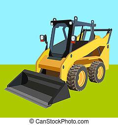 トラック, リフト, cargo., スクレーパー, 黄色