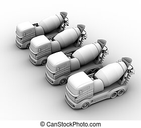 トラック, レンダリング, ミキサー, コンクリート, 背景, 粘土, 白