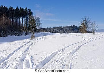 トラック, 上に, ∥, 雪