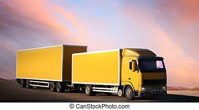 トラック, 上に, country-road