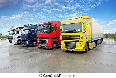 トラック, 中に, 倉庫, -, 貨物, 輸送