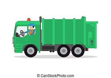 トラック, 労働者, ごみ