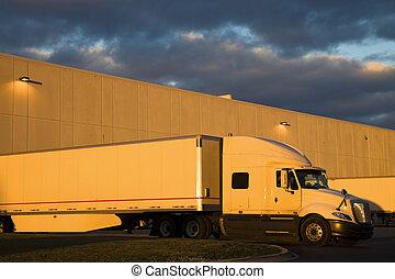 トラック, 半, 白