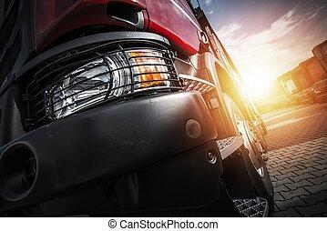 トラック, 半, 運転, ユーロ