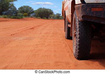 トラック, 奥地, 4wd, 砂
