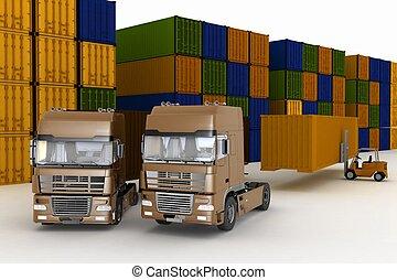 トラック, 屋外で, 貯蔵, 大きい, ローディング, 容器